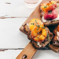 Grilled Peaches with Brillat Savarin on Crostini