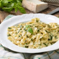 Farfalle & Spinach with Danish Blue Sauce