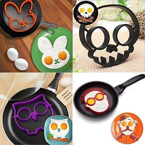 egg mold, funny side up, cat, skull, owl