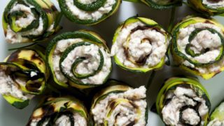 stuffed, zucchini, Grilled Zucchini with Robiola Cheese
