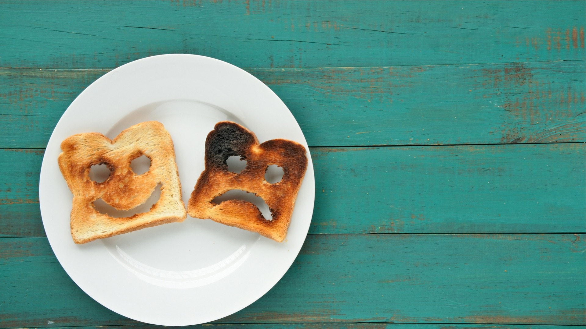 Happy and sad face toasts