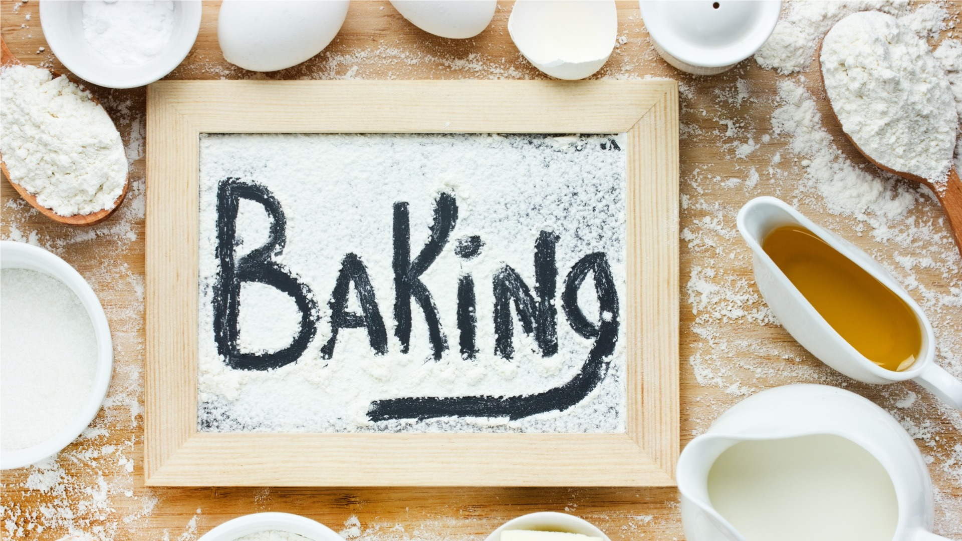 Baking written using flour