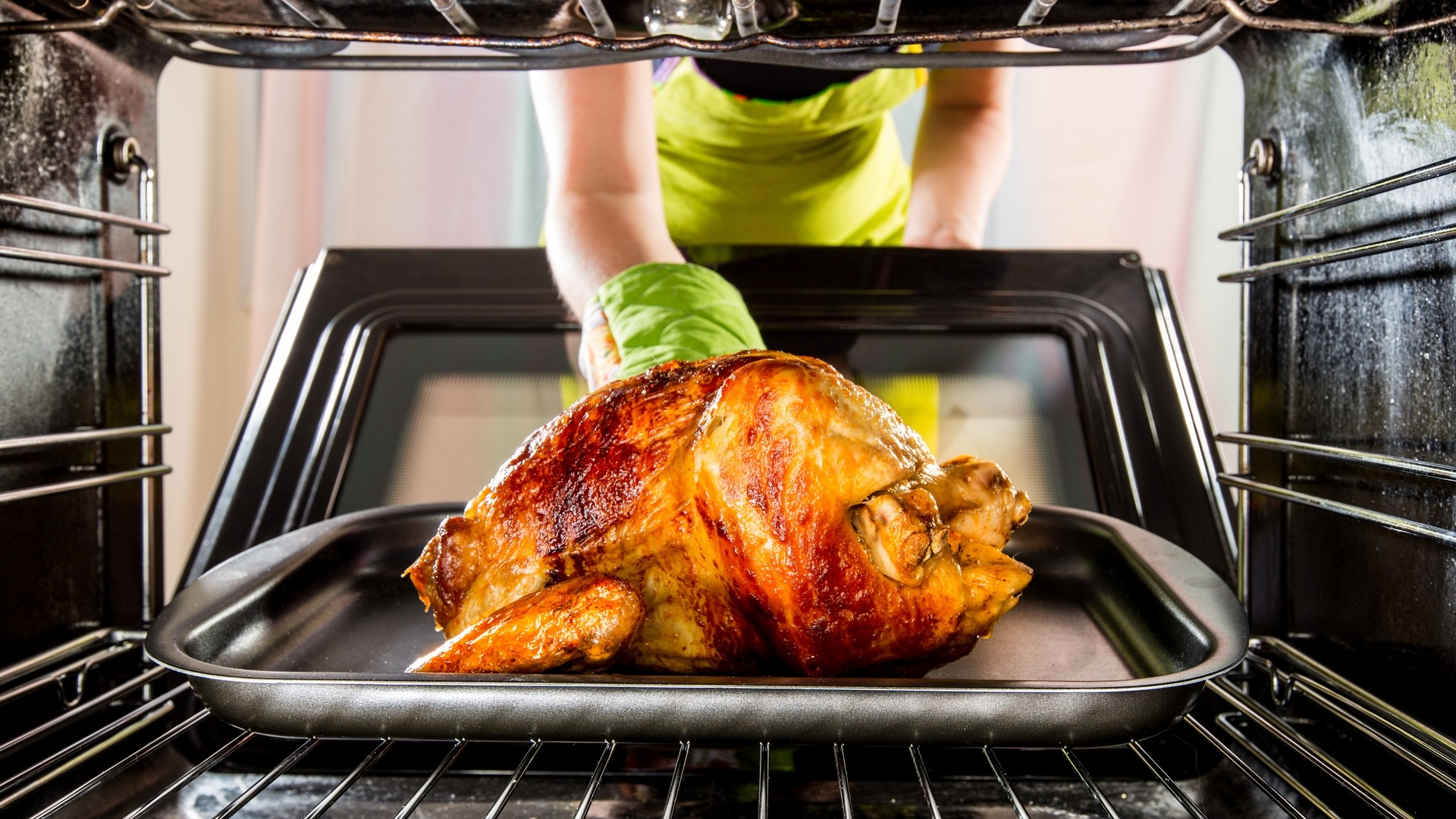 Turkey roasting inside an oven