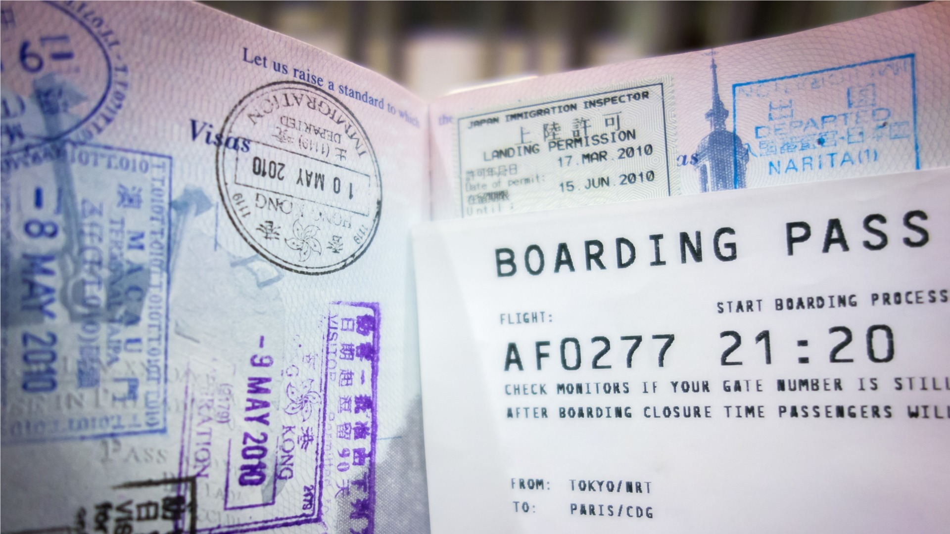 Boarding page and passport