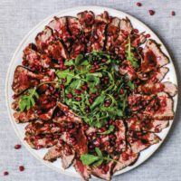 Seared Beef with Pomegranate & Balsamic Dressing