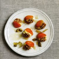 Syrup-Poached Apricots with Walnuts & Clotted Cream