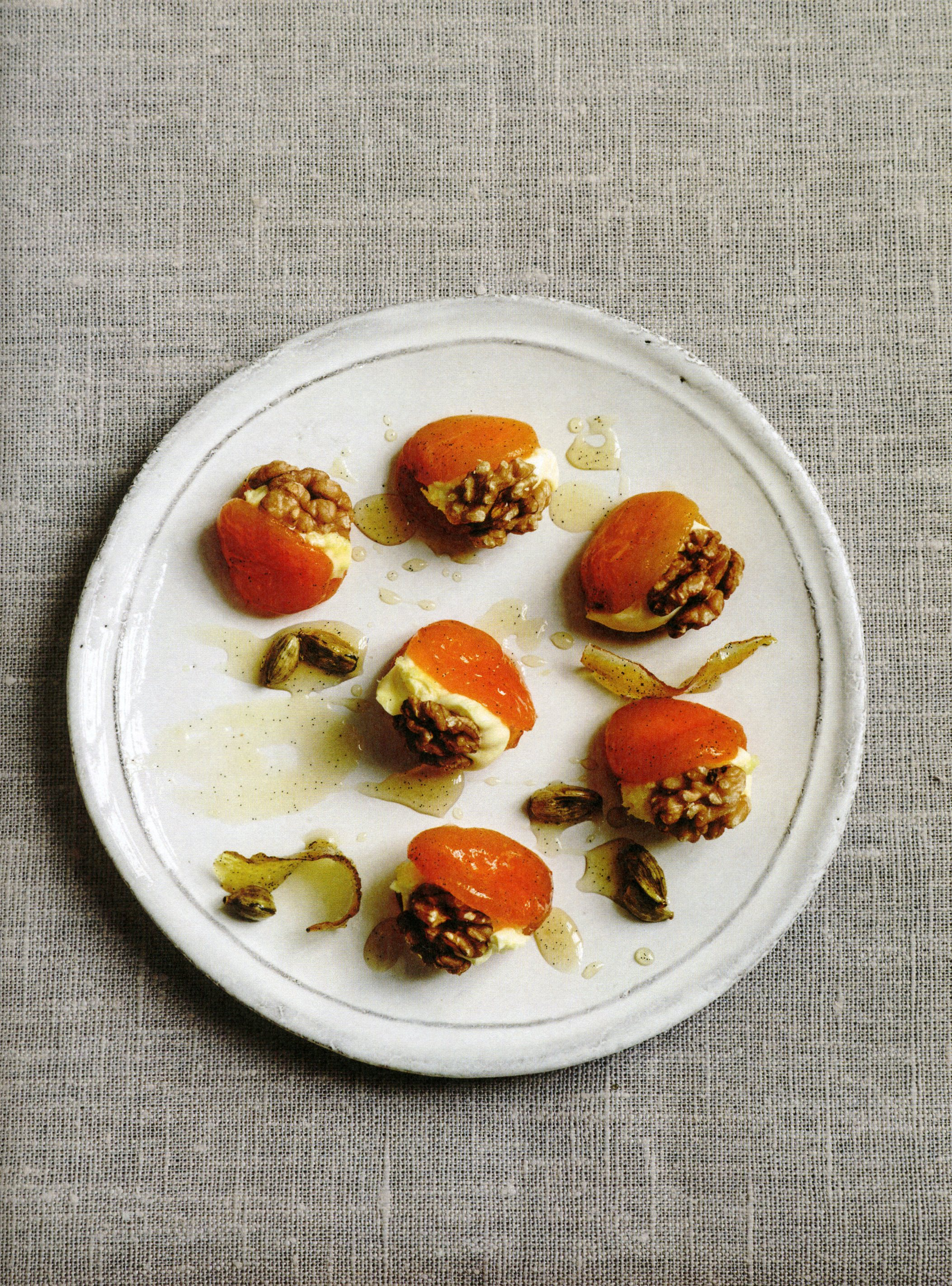 Syrup Poached Apricots With Walnuts Clotted Cream Chef S Mandala
