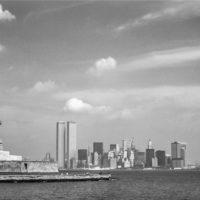 NYC Statue Liberty Skyline Black and White