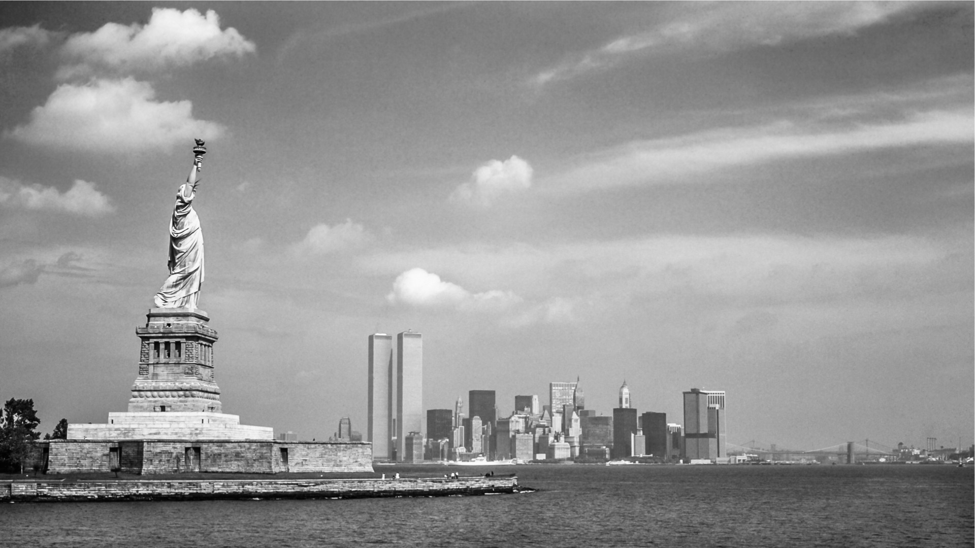 NYC Statue Liberty Skyline Black and White
